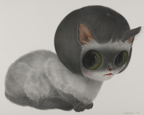 (6)猫(묘), 소녀행 Myo(the cat), Movements of a girl conte on daimaru 72.7×90.9 2013.jpg